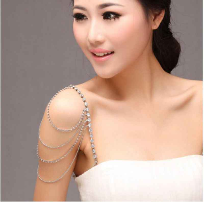 2Pcs/pairs 4 Rows Bridal Shoulder Chain Bra Straps Rhinestone Crystal Shoulder Strap Wedding Party Chains Jewelry