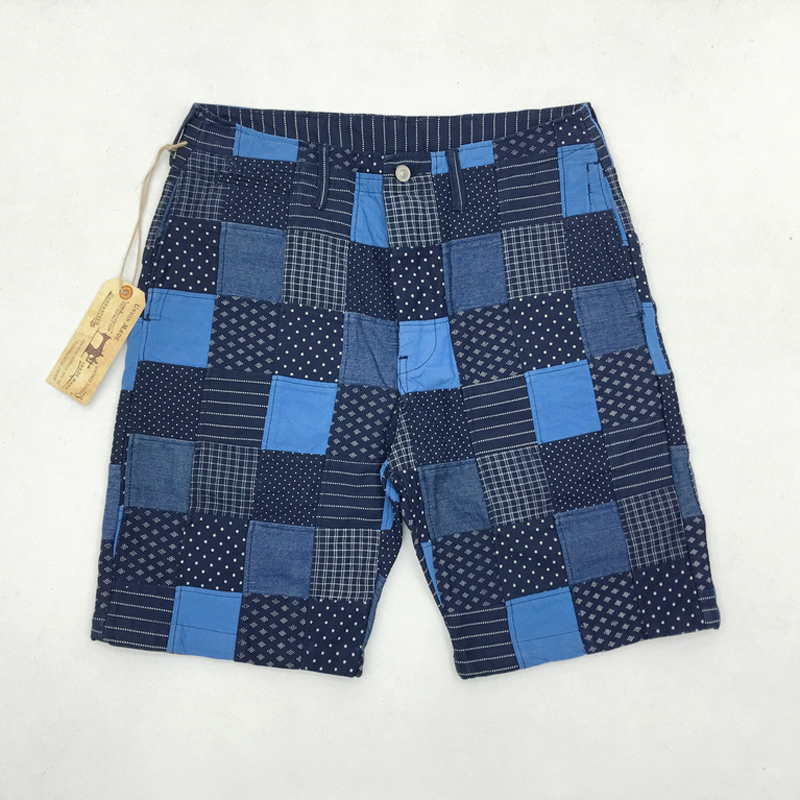 Vintage Wabash Patchwork Shorts Summer Men Spliced Checkered Shorts 10oz Thick Seven Fabrics Straight Short Trousers For Men