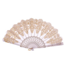 Abanicos plegables chinos tradicionales, abanico hueco hecho a mano, exquisito regalo de boda plegable, plástico y tela 2019 Novel July15