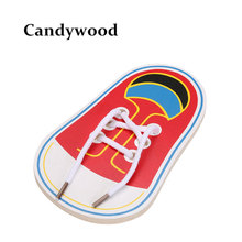 New Arrival Kids Montessori Educational Toys Children Wooden Toys Toddler Lacing Shoes Early Education Montessori Teaching