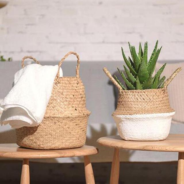 Водорослей плетеные корзины из ротанга корзина складная висит на цветочный горшок сеялки грязным бельем корзина для хранения Box держатель