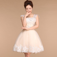 2015 New Arrival Elegant Design Champagne Short Prom Dress For Women Lace Up With Beaded Korean