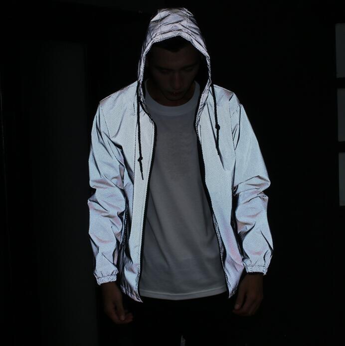 Free shipping Spring autumn men 3m reflective jacket windbreaker hooded coat sportwear jacket men
