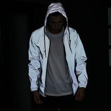 Envío libre del otoño del Resorte de los hombres 3 m reflexivo chaqueta cazadora con capucha capa de la chaqueta sportwear hombres