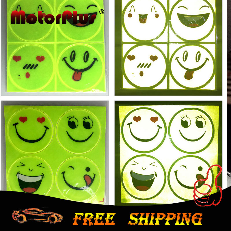 reflective sticker smile face decal for motorcycle bicycle bike kids toy home wall sticker for honda yamaha suzuki vespa ktm bmw
