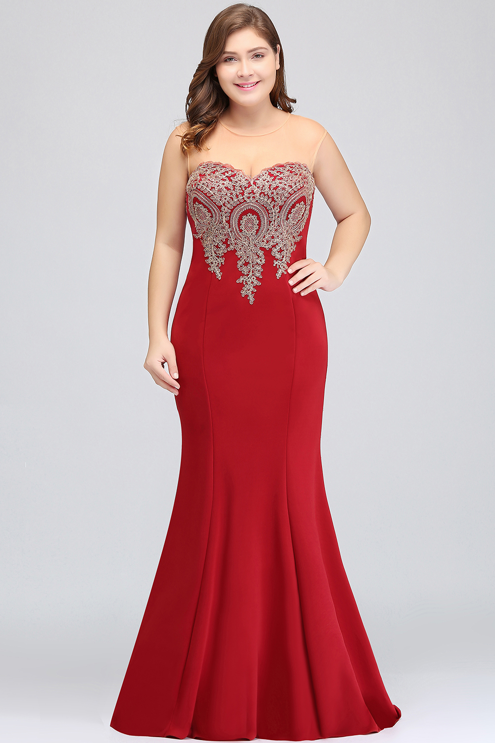 Image 3 - Plus Size Long Evening Dress 2019 Mermaid Formal Dress Party Elegant Evening Gown Sleeveless Applique robe de soiree-in Evening Dresses from Weddings & Events