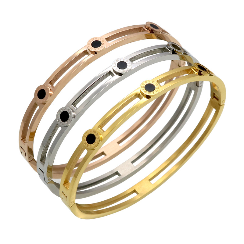 CB1 Stylish and simple Roman alphabet sticky black shell bracelet buckle titanium steel stainless steel bracelet jewelry