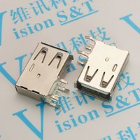 5PCS Connector 2 0 AF USB A Mother Side Insert Long Body A Type 90 Degree