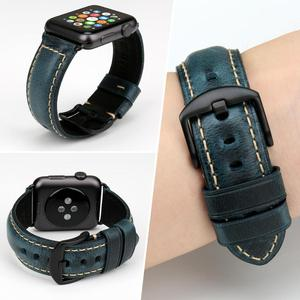 Image 4 - MAIKES Vintage Oil Wax Leather Watch Strap Watchband For Apple Watch Band 44mm 40mm 42mm 38mm Series 6/5/4/3/2/1 iWatch Bracelet