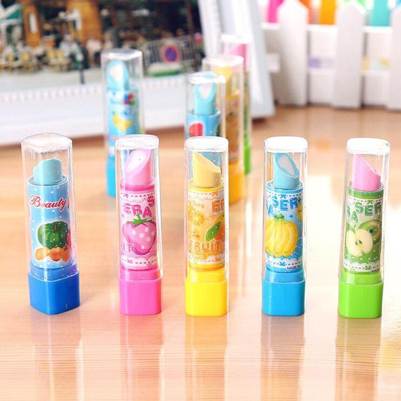 2 stücke Bunte Lippenstift Radiergummi Schreibwaren Bleistift Kinder Studenten