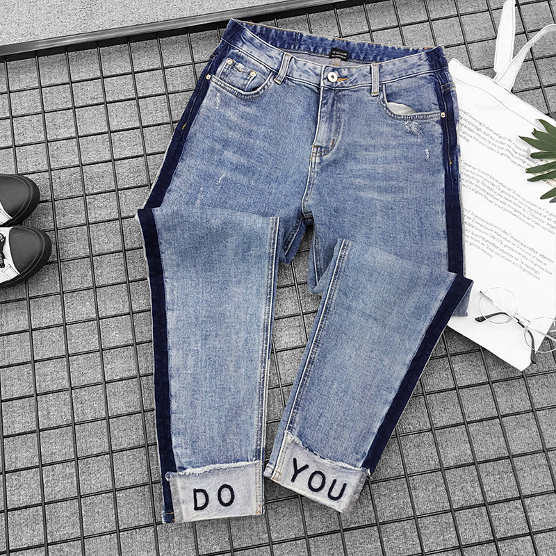 2018 New Women Large Code   Jeans   Ripped   Jeans   Cotton Vintage High Waist Denim   Jeans   Boyfriend for Women Harem Pants