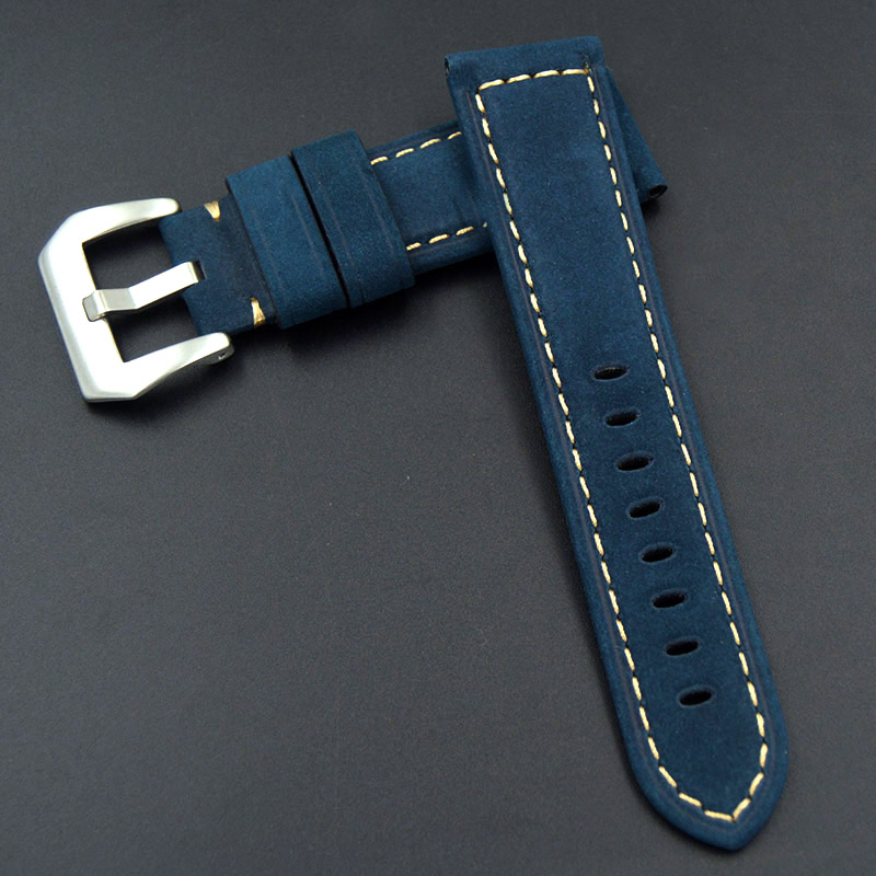 Genuine leather strap watchband 24mm blue ccessories Wrist watch band Soft and comfortable for Panerai PAM watch straps bracelet 22mm 24mm 26mm frosted dark blue retro soft mate genuine leather watchband watch strap for pam and big watch free shiping