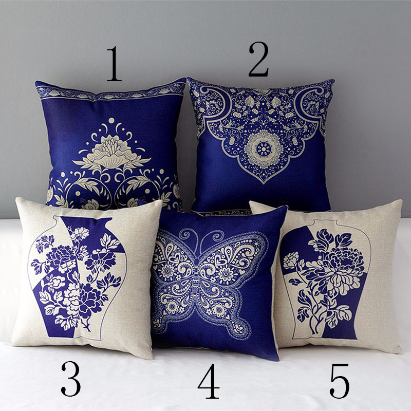 Oriental Floral Cushion Cover Blue White Chinese Style Throw Pillow Case Linen Cotton Decorative Flower Porcelain Pillows cojin