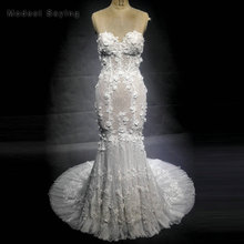 New Fashion Romantic Mermaid Flowers Lace Wedding Dresses 2018 with Sweetheart Beaded Bridal Gowns with Nude Lining for Summer
