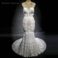New Fashion Romantic Mermaid Flowers Lace Wedding Dresses 2018 With Sweetheart Beaded Bridal Gowns With Nude