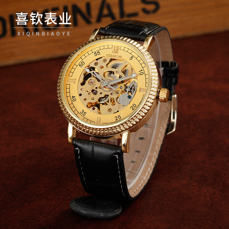 GEOR brand leather machinery fashion Skeleton male Wrist watch Men s Automatic Watch waterproof Luminous