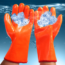 Бесплатная доставка 2 пар низкая температура устойчивые ПВХ работы защиты перчатки водонепроницаемый изолированные рыбная ловля холодного хранения тепловой держать