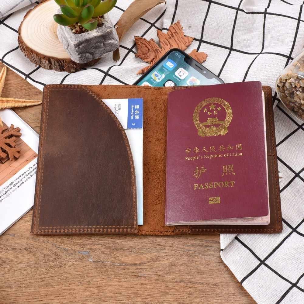 Новые поступления, натуральная кожа Crazy Horse, Обложка для паспорта, Твердый Чехол для кредитных ID карт, держатель, бизнес, унисекс, кошелек для путешествий