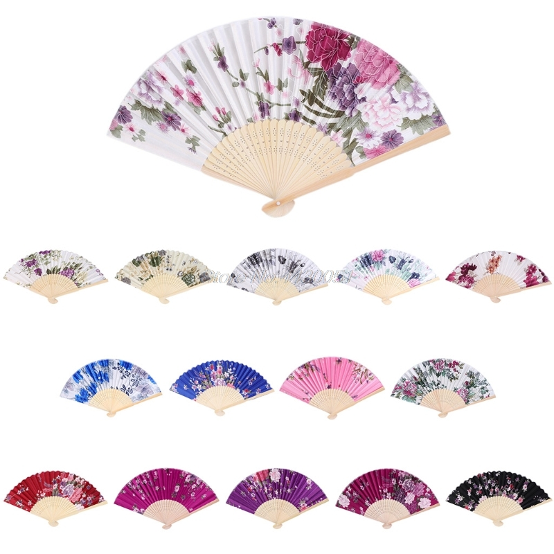 Colorful Chinese Bamboo Folding Hand Fan Flower Floral Wedding Dance Party Decor