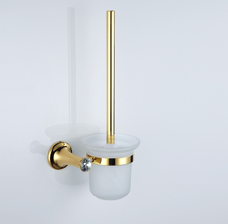 FREE SHIPPING GOLD clour crystal toilet brush holder toilet cup holder newly wall mounted crystal style holder white ceramic cup white toilet brush gold finish