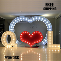 LED Retro Illuminated Christmas 3d Channel Marquee Alphabet Letter Lights Waterproof LED Giant LOVE Letter Metal