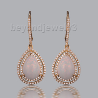 2015 New Solid Pear 8x11mm Natural Opal 14Kt Gold Rose Earrings With Diamonds SR0007