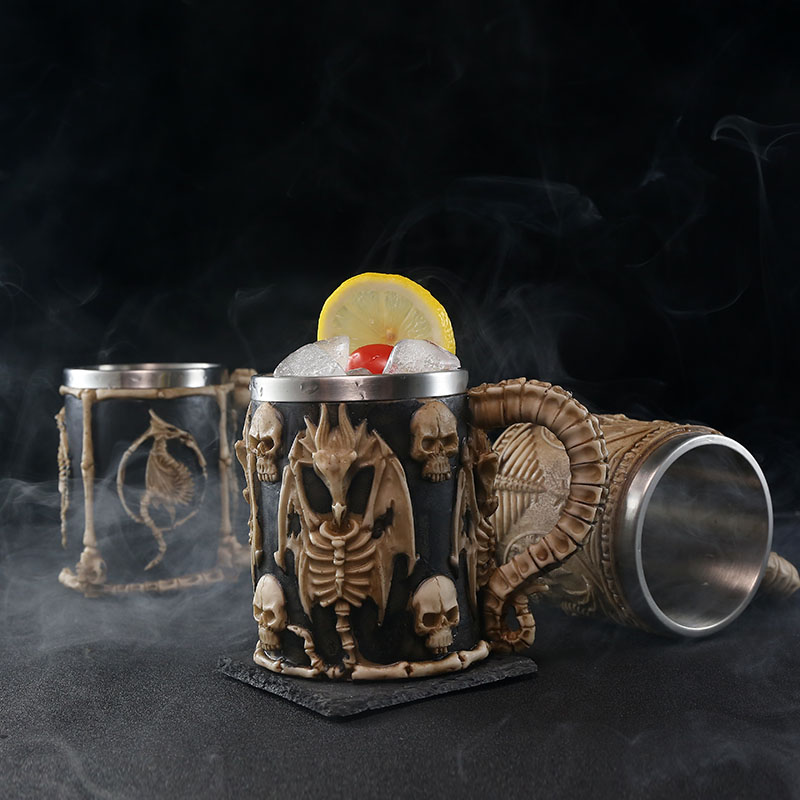 Image 5 - Skull Dragon Resin Stainless Steel Beer Mug Retro Knight Tankard Halloween Coffee Cup Creative Viking Tea Mug Pub Bar DecorationMugs   -