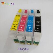 4pcs T0731N-4 Empty refillable ink cartridges for epson T10/TX109/TX200/C79/C90/TX400/TX409/T40W/TX600W