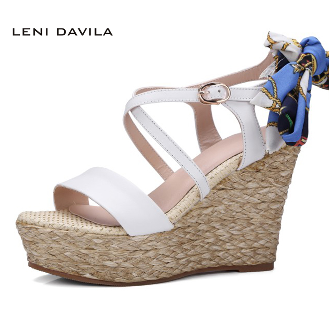 LENI DAVILA 2017 Summer Fashion Casual Womens Roma wedges sandals high heels women platform shoes for women (White, black) phyanic 2017 gladiator sandals gold silver shoes woman summer platform wedges glitters creepers casual women shoes phy3323