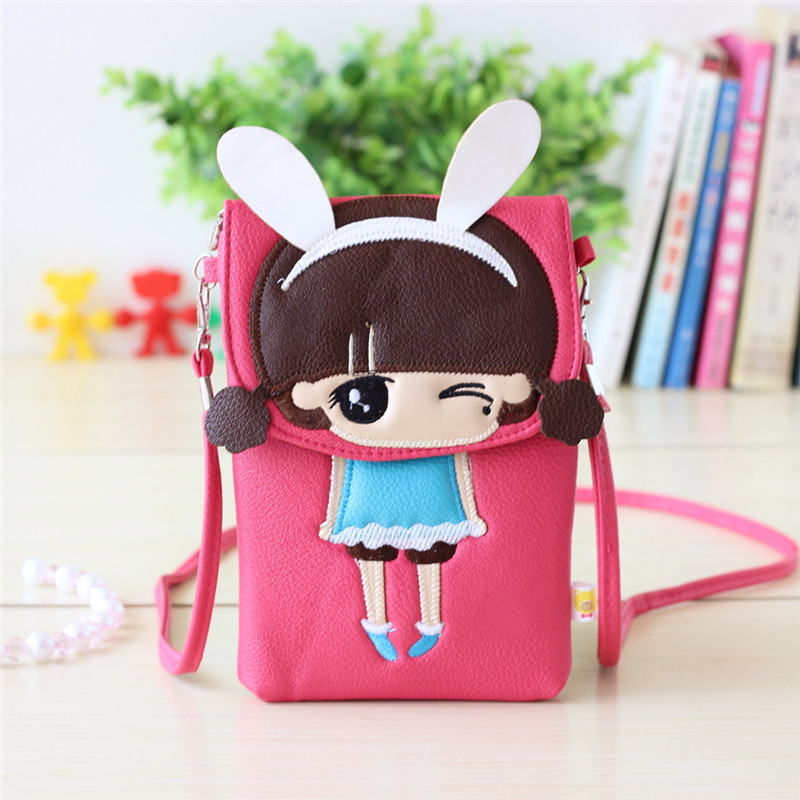 PU leather cartoon printing cute girls womens coin purses ladies wallets mini crossbody bags small pouches for teenagers girls