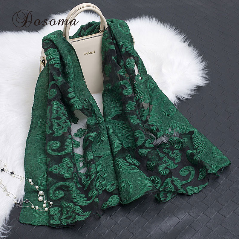 Elegant Organza Lace Scarf Embroidery Imitation Silk Floral Headband Bandana Muslim Instant Arab Style Echarpe Hijab