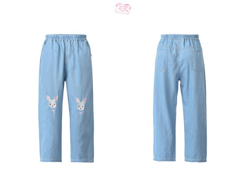 Light Blue Deep Blue Kawaii Bunny Embroidery Jeans Pants Women Summer Casual Straight Pants With Pockets Fashion Ninth Pants8