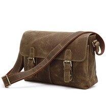 Crazy Horse Leather Men's Shoulder Bag Crossbody Men's Leather Messenger Bags # 6002B