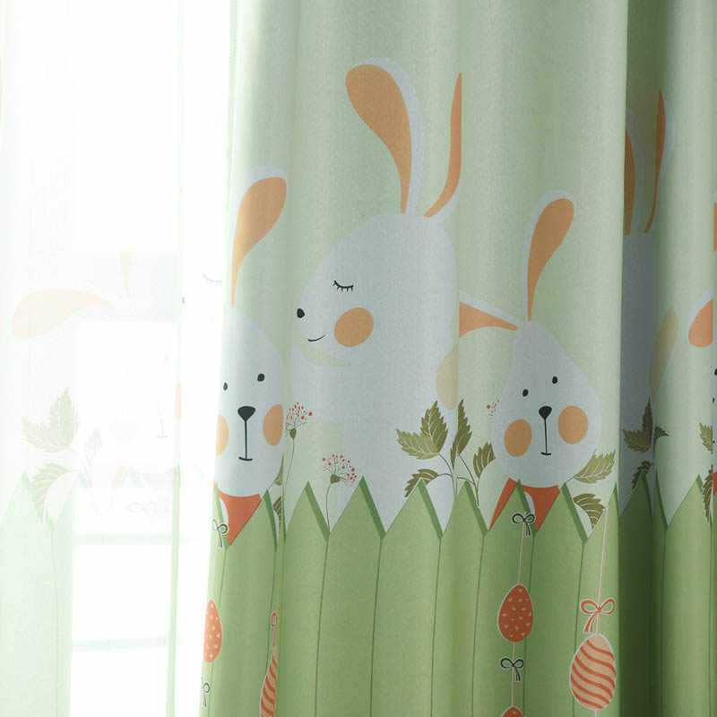 Cartoon Bunny Blackout Cloth Curtains For Boy/Girl child Bedroom Kids Room Living Room Pink Green Sheer Tulle Customized p116&4