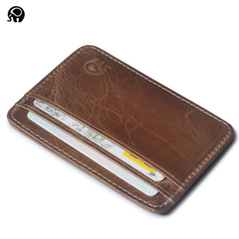 Wholesale Good Leather Thin Business Bank Credit Card case ID Pocket Mini Card Wallet Men Small Bus Card Holder Cash Cards Pack