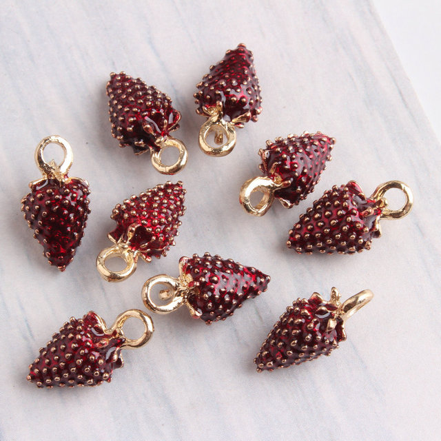 Wholesale 40pcs 816mm dark red enamel alloy 3d fruit strawberry wholesale 40pcs 816mm dark red enamel alloy 3d fruit strawberry pendant charms diy jewelry aloadofball Gallery