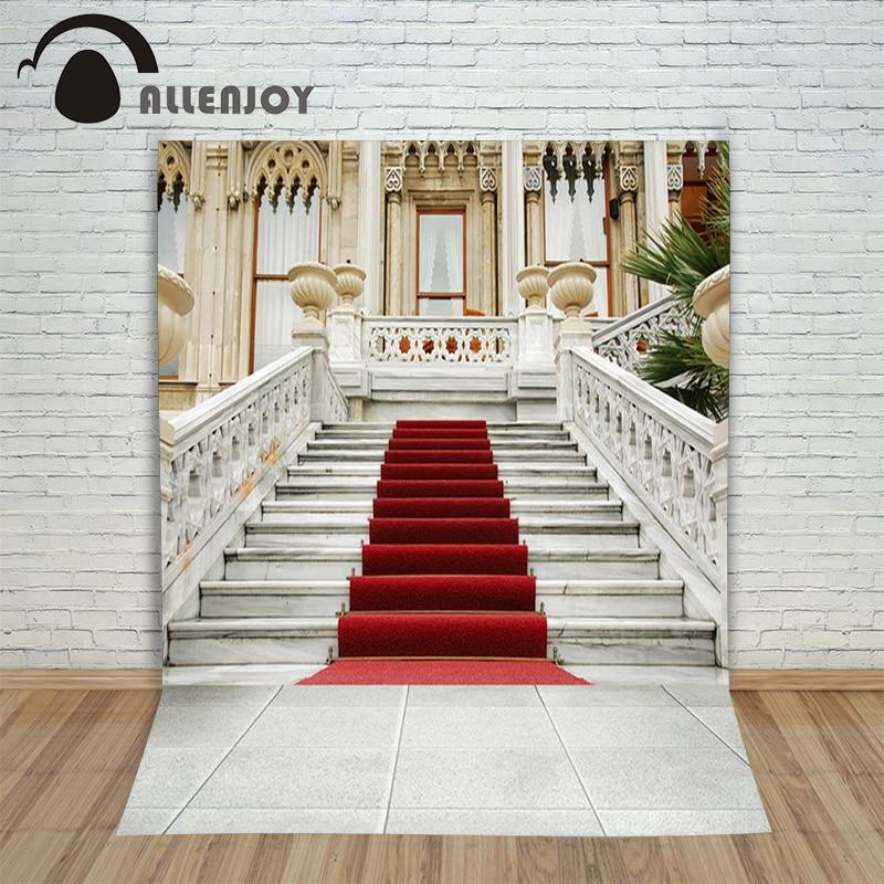 Allenjoy photographic background Window ladder red carpet backdrops princess christmas vinyl 150x200cm