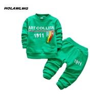 2018 Nieuwe kinderen lente herfst kleding suits kids woorden Shirt + broek 2 Stks/set baby jongens kleding O hoodies