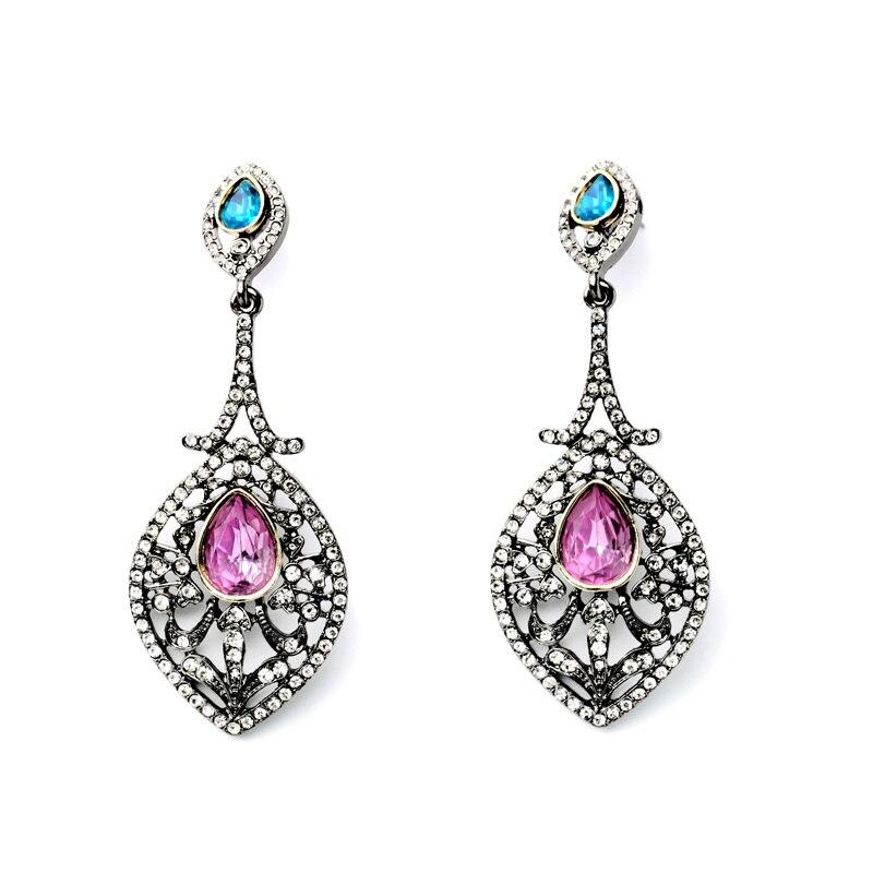 Bulk Price Encrusted Rhinestone Earring Royal Affair Long Exquisite Charm Vintage Stud Earrings Shiny For Women Bincos