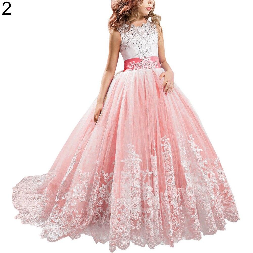 Mode jolie fille robe de princesse dentelle traînant robe pour enfants fête mariage demoiselle d'honneur - 3