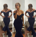 Sale Navy Blue Evening Dresses Mermaid Off Shoulder Celebrity Dresses Arabic dress Prom Gowns Prom Tea length 2017 Myriam Fares