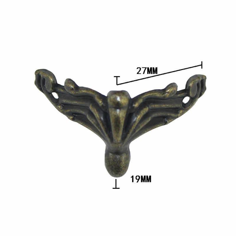 4 шт Мини античная латунь старинные бронзовые ювелирные изделия грудь Подарочная коробка деревянный корпус Декоративные ножки ноги металлический Угловой протектор