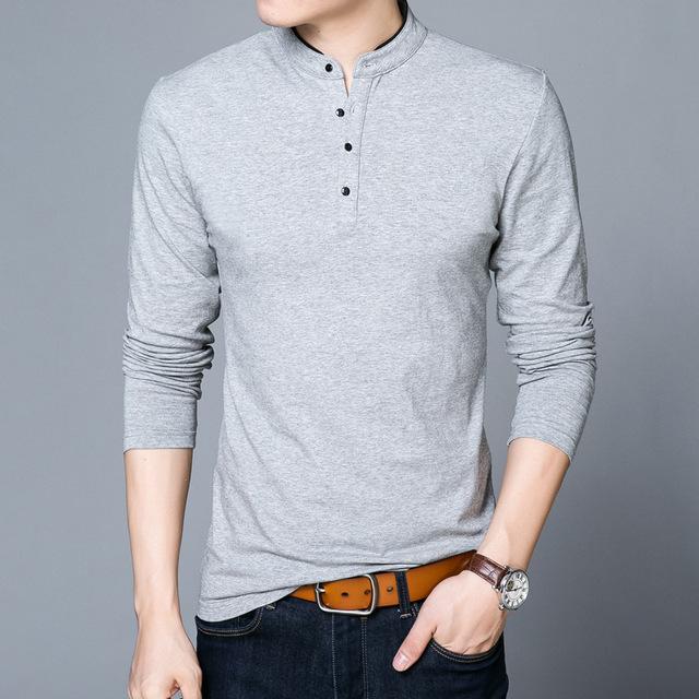 New Fashion T-shirt Men 2019 Spring Autumn 100% Cotton T Shirt Men Solid Color Tshirt Mandarin Collar Long Sleeve Top Tees