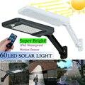 60 LED Солнечный настенный светильник с дистанционным управлением регулируемый водонепроницаемый PIR датчик движения Солнечный свет садовое ...