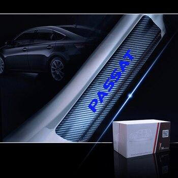 Auto Tür Sill Willkommen Pedal Aufkleber Tür Sill Schutz Für VW Volkswagen Passat 4D Carbon faser aufkleber Auto Zubehör 4PCS