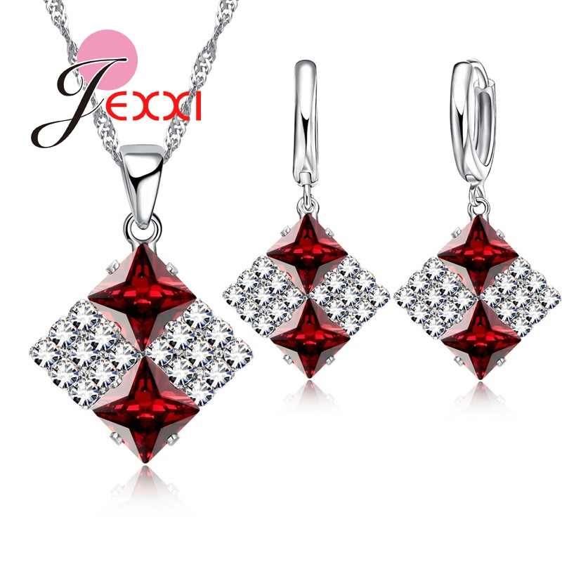 6 Colors Fashion Elegant Square Full Clear Rhinestone Bridal Wedding Jewelry Sets For Women Silver Crystal Jewellery Sets