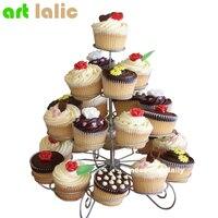 23 Cups Châu Âu-phong cách Đa Chức Năng Christmas Tree Shape Birthday Party Cupcake Đứng Sắt 4 Tier Cake Đứng Ch