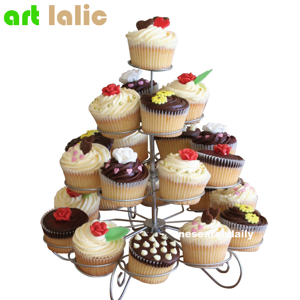 23 Cups European-style Multifunction Christmas Tree Shape Birthday Party Cupcake Stand Iron 4 Tier Cake Stand Holder
