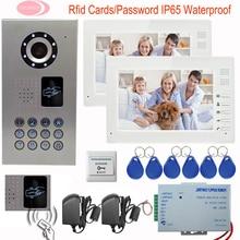 Home Security 7 inch TFT LCD Monitor Video Door Phone Intercom System IP65 Waterproof Inductive Card Video Doorphone 2 monitors