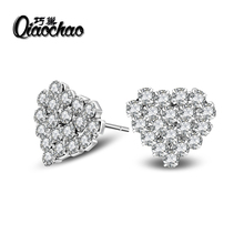 2017 Luxury Silver Crystal Stud Earrings with 1.5ct Clear CZ New Fashion Jewelry for Women Birthday's Party Gift